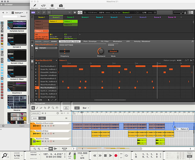 Screen 1: You can drag Maschine Patterns as audio into Reason and arrange them in the Sequencer.