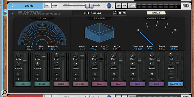 Screen 2. Rytmik has three built-in effects, plus a  distortion and master filter.