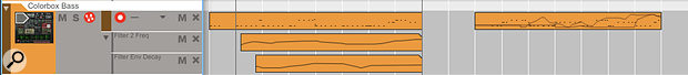 Screen 1: Two lanes of parameter automation on a Thor synth track, and a subsequent section where automation has been embedded in a Note Clip.