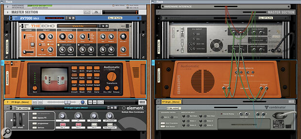 Screen 1 (left) & Screen 2. Both front and rear views of an Audiomatic effect patched into The Echo's feedback loop via the 'Breakout' connectors. This lets you progressively colour echoes using any other Rack device or VST plug?ins.
