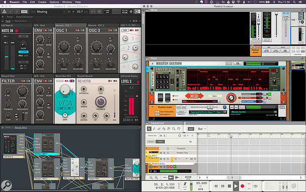 1: Reason running alongside Reaktor 6, with internal MIDI and audio connections.