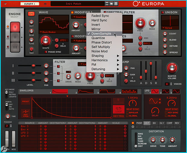 Screen 2. Europa's Modifiers and Spectral Filters directly manipulate the wavetable engines, enabling a range of sounds impossible in a traditional synth.