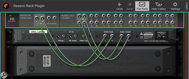 Screen 4. Instead of a  master mixer, the Reason plug-in has a  simple I/O device for routing in and out of your DAW.