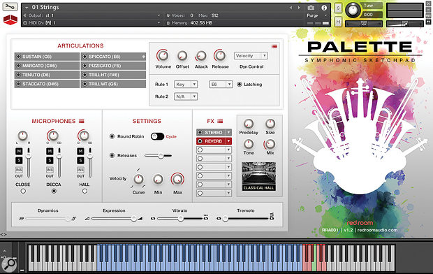 Palette Symphonic Sketchpad's GUI holds eight keyswitchable articulations. Keyswitches are shown in pink, with the currently selected artic's keyswitch marked in green.