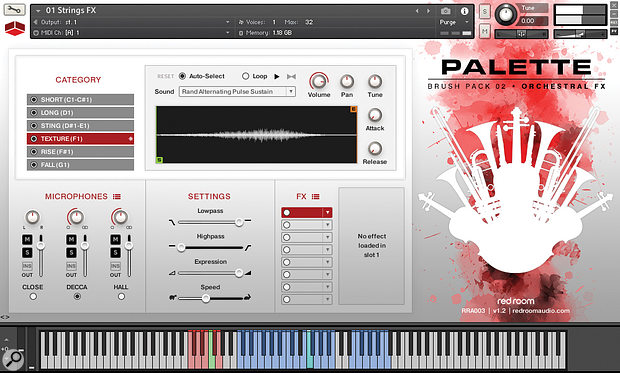 Palette Orchestral FX's GUI includes six style category selectors and an interactive waveform display for currently selected samples.