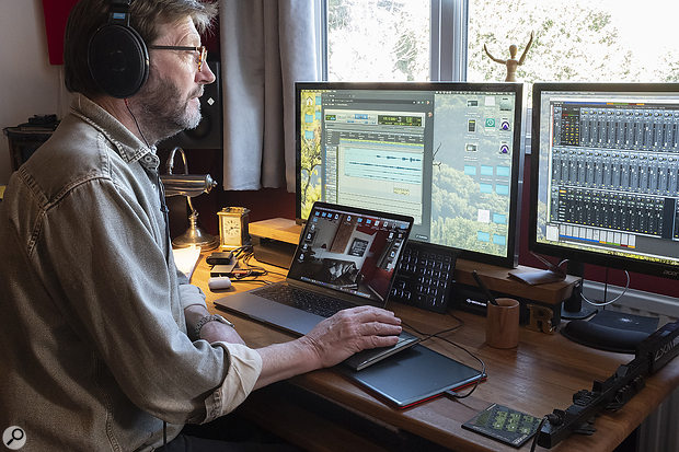 A glimpse into the control room: Rupert Flindt engineering the session from his studio, more than 100 miles away!