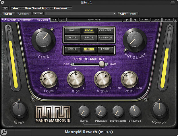 Many reverb plug-ins offer a  choice of algorithms, each emulating a  different type of space or mechanical response — room, plate, hall, chamber and so on.