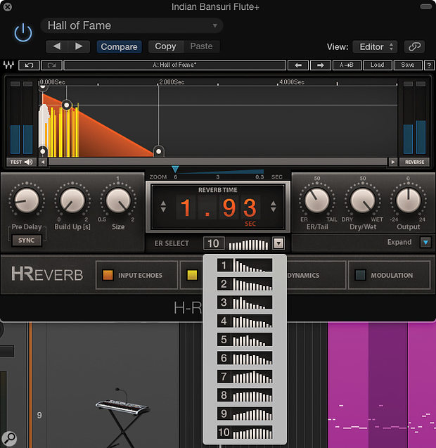 Most plug-ins allow you to adjust the balance between early reflections and the reverb tail, and some — like Waves' H-Reverb — provide options for different early reflection 'shapes'.