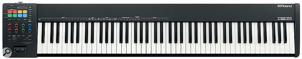 The A‑88 MkII groups its controls conveniently together and offers eight assignable pads and eight assignable knobs.