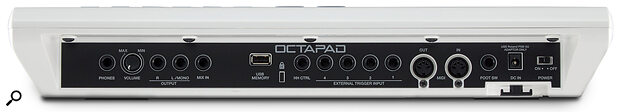 As well as the master volume control, audio and MIDI I/O, the back panel is home to a number of quarter‑inch trigger inputs, a hi‑hat control and a footswitch input.