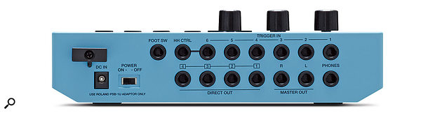 The TM‑6's rear‑panel connections are all on quarter‑inch jacks and include six trigger inputs, footswitch and hi‑hat control inputs, four direct audio outputs, astereo master output and aheadphone socket.