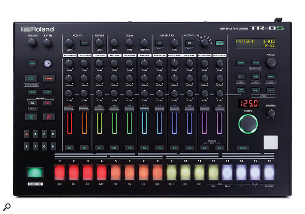 At first glance the TR-8S' front panel is more or less identical to the TR-8's, however, as well as being very slightly larger, the newer model has lost it Scatter control knob and gained an LCD screen.