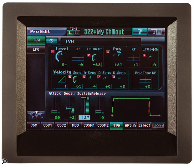 The V-Synth's 320 x 240 colour TFT touchscreen is central to the synth's operation, and is cleverly designed to display a great deal of information.