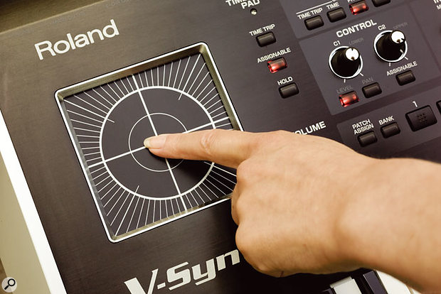 The Time Trip pad, which, alongside the twin D-Beam controllers and aftertouch and velocity sensitive keyboard, is central to the V-Synth's performance controls — all of which can be fully utilised with the new AP Synthesis engine.