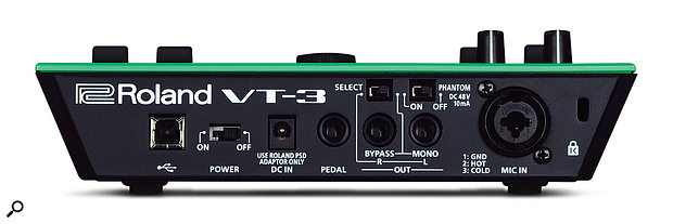 The VT3's back panel houses aUSB port, power on/off switch, aquarter‑inch pedal input, twin quarter‑inch outputs with abypass and mono/stereo selector switch, aswitch for the 48V phantom power and acombined mic and jack input socket.