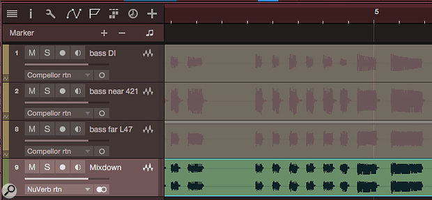 Screen 2: These three bass tracks have been mixed down to the single, stereo track shown at the bottom using Mixdown Selection. All insert effects are included, but the result is always a stereo file named 'Mixdown' (numbers are automatically appended to the file name as needed for differentiation).