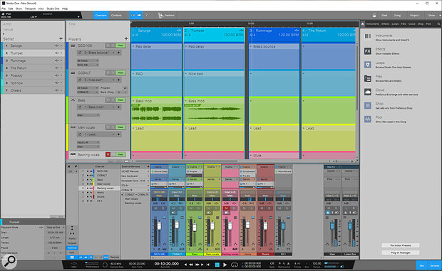 The Show Page is designed for live performance, and combines the roles of virtual instrument host, mixer and backing‑track player.