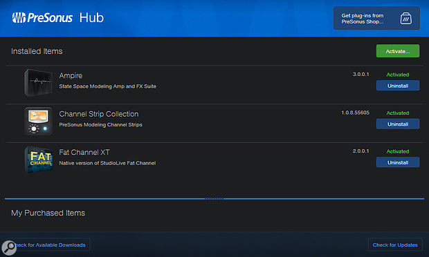 The PreSonus Hub application lets you authorise and install Ampire and Pedalboard for use in other DAWs.