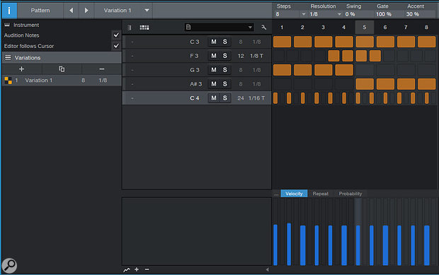 Editing your pattern in Drum mode allows you to adjust resolution and step size on a per-note basis, which is ideal for creating polyrhythms.