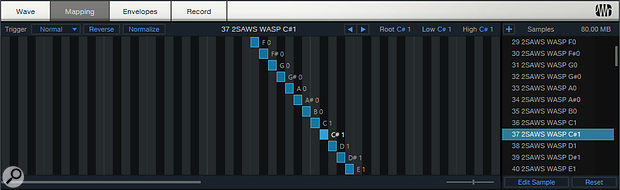 Samples can be mapped across the keyboard, either to create playable multisampled instruments or to split out drum kits.