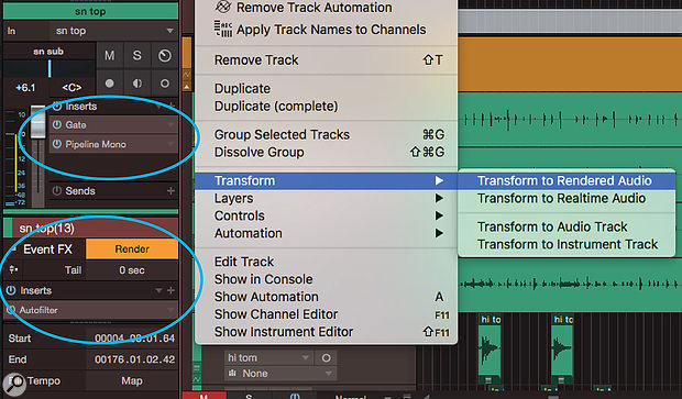 Screen 1: The Track Transform commands are ideal for capturing audio. Here, transforming the track captures both an outboard compressor inserted with the Pipeline plug-in, and Event FX that had not yet been rendered.