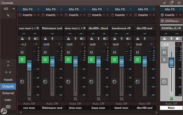 Screen 4: This template has 'mon' outputs that were used for cue mixes during recording, but now are ready to export stems. In this example, there will be only four stereo stems.
