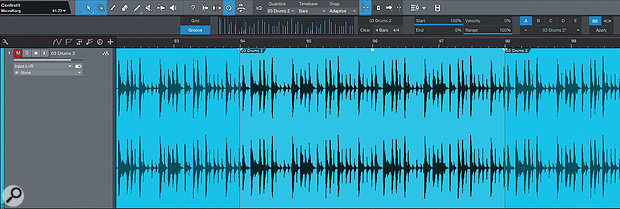 Extracting agroove from aloop in Studio One is easy. As you can see, the vertical lines within the box at top centre are no longer regular, but correspond to the strong beats within my loop.