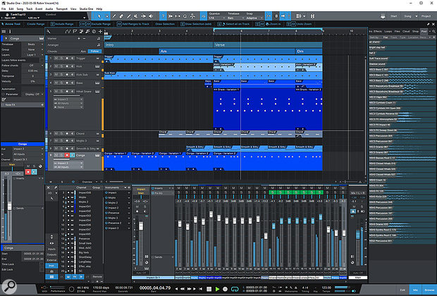 Some of the Studio One templates, such as the Techno one, come with a pretty well-populated arrange page.
