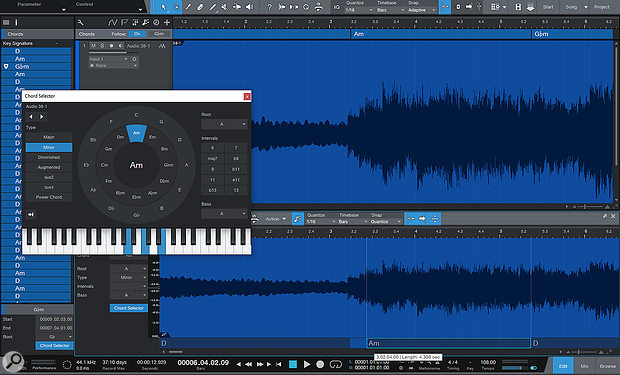 To make audio parts follow the Chord track, you'll need to detect the chords within them. This process often requires a  little help from the user!