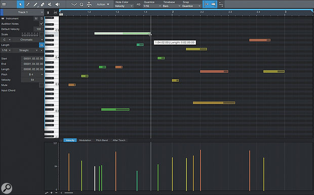 In the Music Editor, note velocity is represented by the vertical bars at the bottom of the piano roll.
