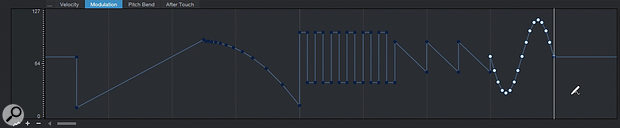 The Modulation lane lets you draw in lines, curves, and LFO-like automation shapes.