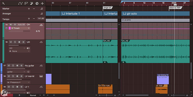 This screen shows both the Arranger track, near the top (with the blue named sections) and a  Scratchpad on the right side. The main timeline is on the left.