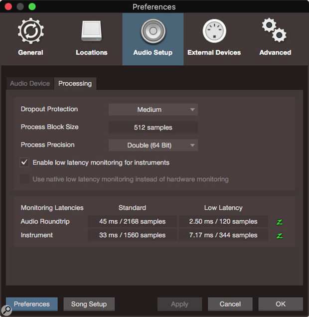The new Processing tab in the Audio Setup preferences. Dropout Protection is set in the upper section of the tab, while monitoring latencies for audio and instrument tracks are displayed in the bottom half.