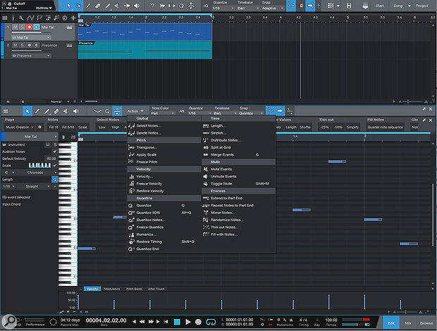The new MIDI Note Actions are accessed from the Action menu.