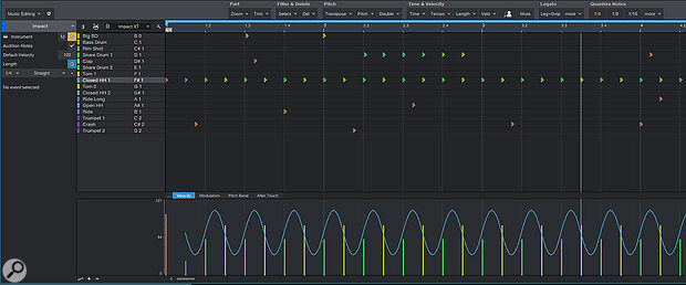The automation lane can be used to apply modulators to any of your drum instrument's parameters. Here, a sine wave is modulating the hi-hat's velocity.