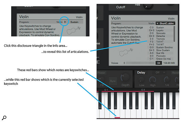 To see the articulations available for a particular instrument, either click the disclosure triangle in the Info area or hover over a keyswitch key until the tool tip pops up.