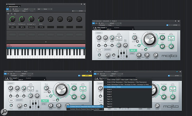 A control can be linked across multiple Mojito synths using Macros.