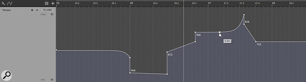 The Tempo Track allows you to change the tempo of your song, either abruptly, in a straight ramp, or as a smooth curve.