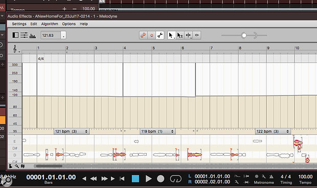 Studio One Melodyne tempo mapping.