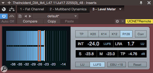 Although your ears are always the ultimate guide, metering can be helpful, especially loudness metering. This screenshot happens to catch the narration at an ideal integrated level of ‑24 LUFS.