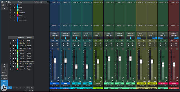 For a  typical drum kit recording, it can be useful to have groups within groups. Here, for instance, I've used separate mono tracks for the left and right overhead and room tracks. These are grouped, as are the kick, snare and tom tracks, and a  further Drum Fader group links faders across all the drum tracks.