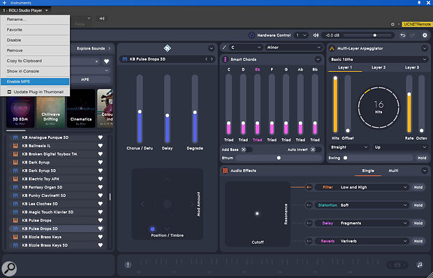 Screen 2: You must Enable MPE on the VST instrument you want to control before it will respond properly.