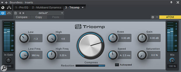 The Tricomp plug-in offers a very streamlined approach to multiband compression.