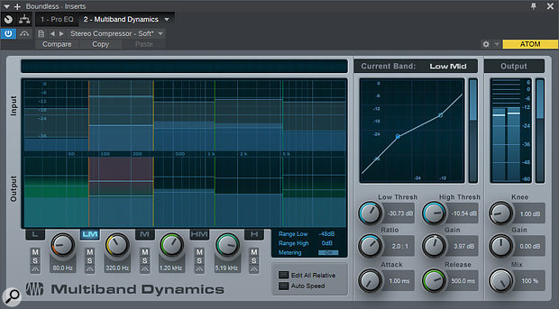 Each band within the Multiband Dynamics plug-in offers both a high and a low threshold, allowing simultaneous upward expansion and conventional compression.