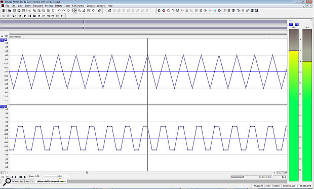 This screen shows two 11.025kHz sine waves, one offset by 45 degrees relative to the sample rate, at the maximum horizontal zoom level. Each wave has four samples per cycle: the top one has them at the positive and negative peaks and zero crossings, while the bottom one has them 3dB down either side of the top and bottom peaks. The actual reconstructed waveform is identical (apart from the phase shift) and should be a sine wave. Not only is the displayed image nothing like it should be, but the sample‑peak meter also under‑reads by 3dB... This is very common, but highlights the potential dangers of using the pencil tool to redraw waveforms that don't look right!
