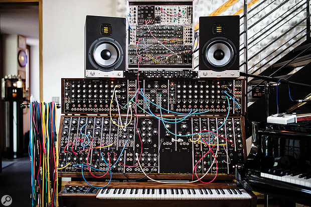 Rainer Oleak's Moog System 35 modular synth, with Sequencer Complement B and some additional Eurorack modules.