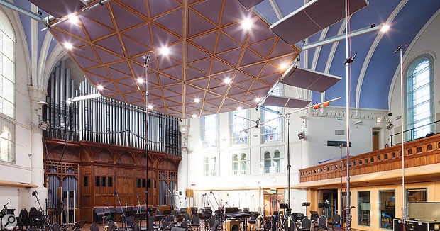 The spaceship–like cloud panel used to control the acoustics adds a  space–age touch to the Victorian surroundings of the AIR Lyndhurst hall.