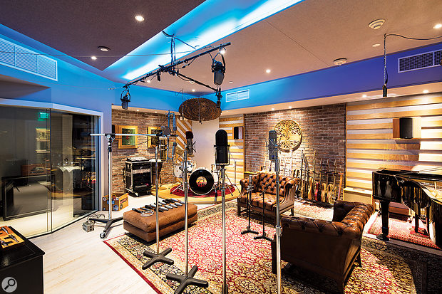 A few of BangyBang Records' choice mics in the live room. The Decca tree can be populated either with RCA KU3A ribbons (as shown) or Neumann M50s.