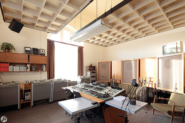 Following its restoration, the Casino Baumgarten control room is almost exactly as it was in the late '60s, with its WSW console (centre), Studer tape machines (left) and Altec speakers (against the wall at right).