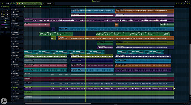 Expanded to fit a full desktop monitor, Stagelight looks much like any conventional DAW...